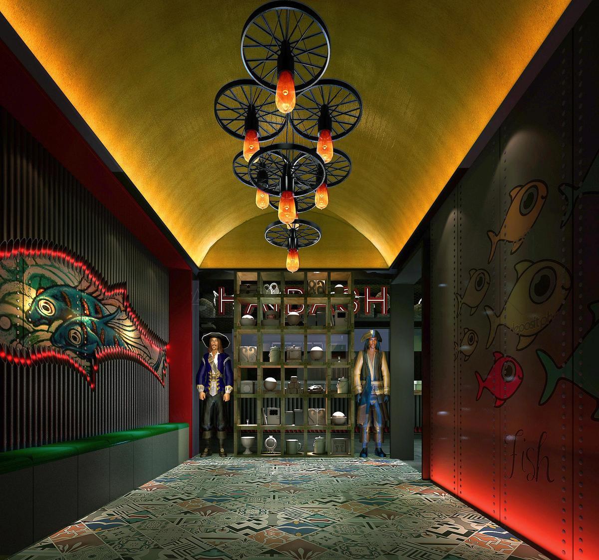 看看人家的餐厅手绘墙,活该你店铺没流量
